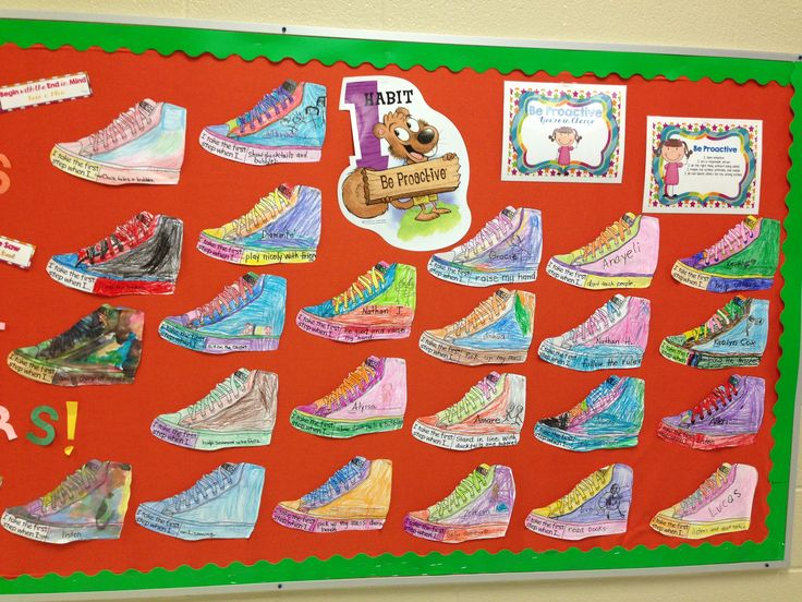 "Habit 1: Be Proactive // ""I take the first step when I...."" The students brainstorm ways they will be proactive and take the first step, then they complete/decorate a shoe with their idea. (PreK/Kinder)"