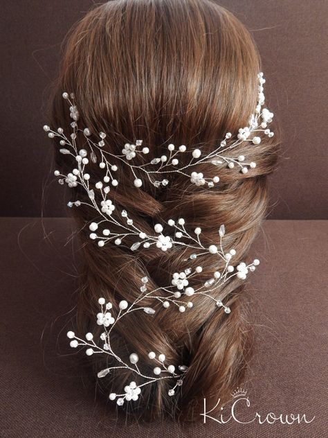 Long vine bridal hair Bridal hair vine Pearl bridal by KiCrown