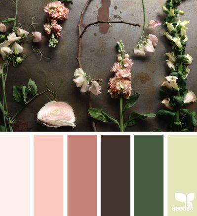 rose, peach und sommerliches grün
