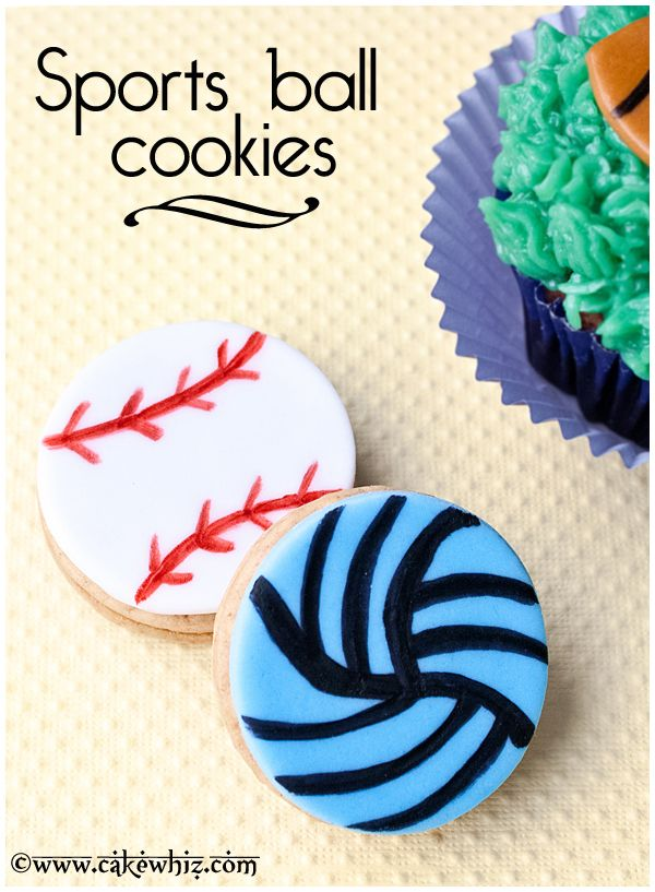 SPORTS BALL COOKIES are always a winner with guys! Learn to make these easy baseball and volleyball cookies. From cakewhiz.com