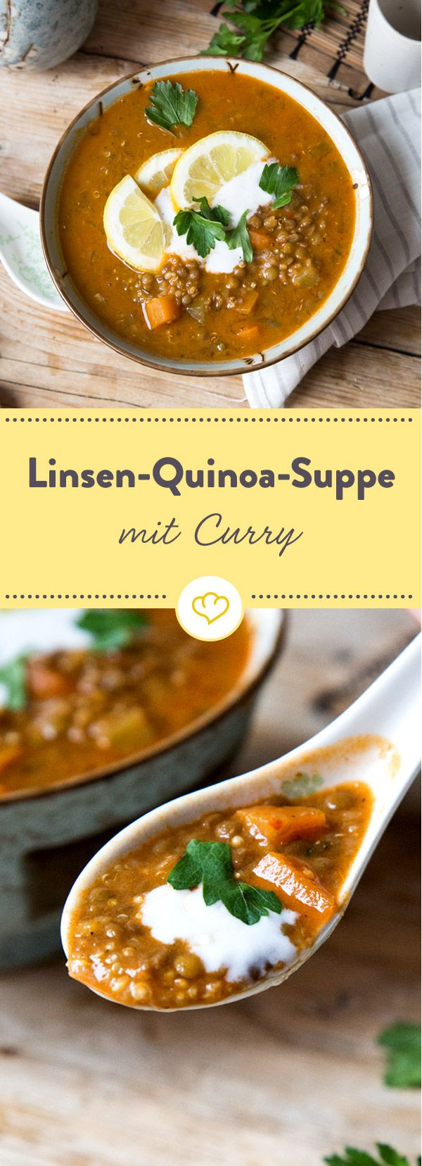 Diese wärmende Suppe versorgt dich mit einer Extraportion an Nährstoffen. Neben gehaltvollen Linsen tummeln sich auch Quinoakörner in deiner Schüssel.