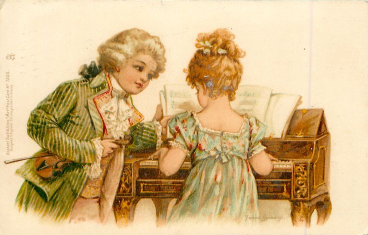 girl playing piano, boy in green jacket, holds violin, turning pages - 1902
