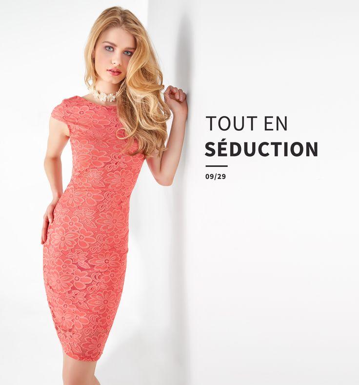Tout en séduction  //  The power of love #women #womenfashion #dress #coral #lace #robe #corail #dentelle #ss17 #lookbook