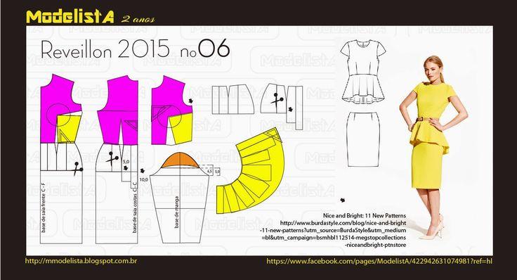 ModelistA: ANO NOVO - 6 modelagem de vestido com peplum ou blusa peplum com saia.