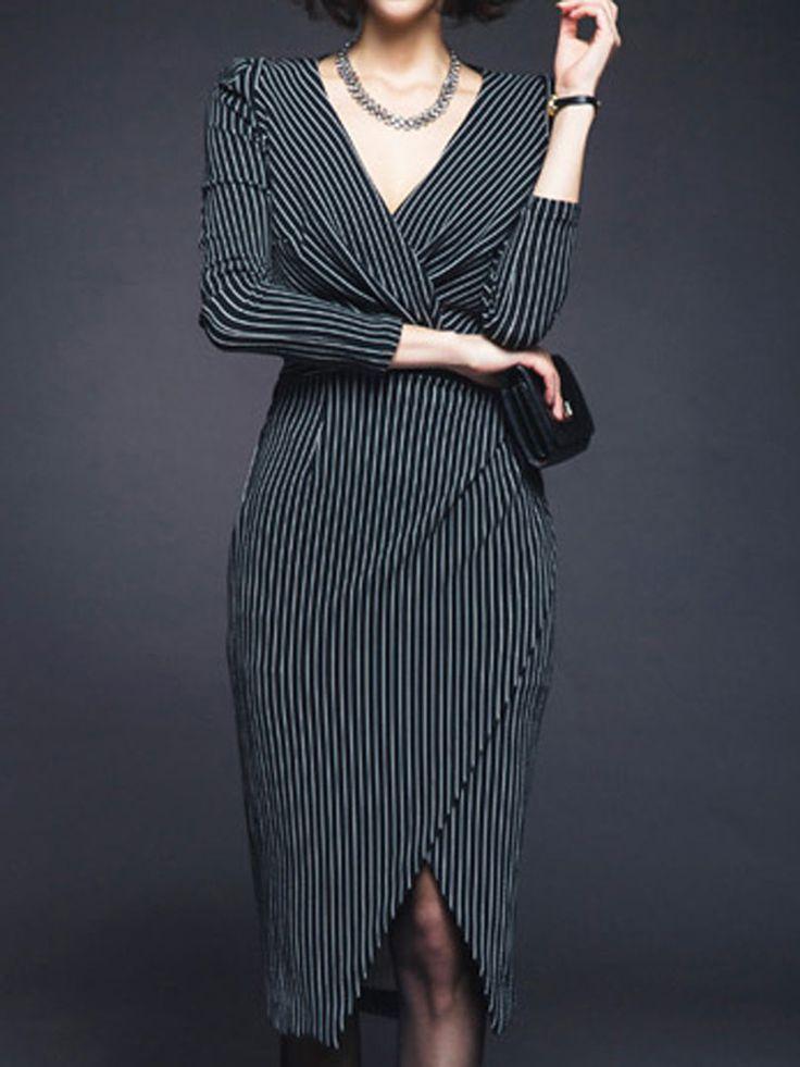 Monochrome Stripes 3/4 Sleeve V Neck Asymmetric Bodycon Dress | Choies