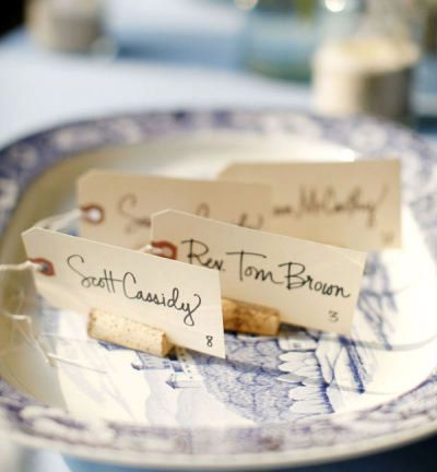 Whip Up Easy Place Cards  Place cards instantly make guests feel special! Make your own using basic shipping tags available at any office supply store and set them at each place setting.  Photo from Style Me Pretty.