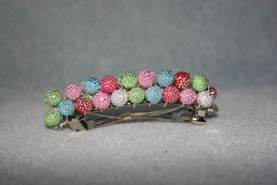Multi Coloured Beaded Hair Clip