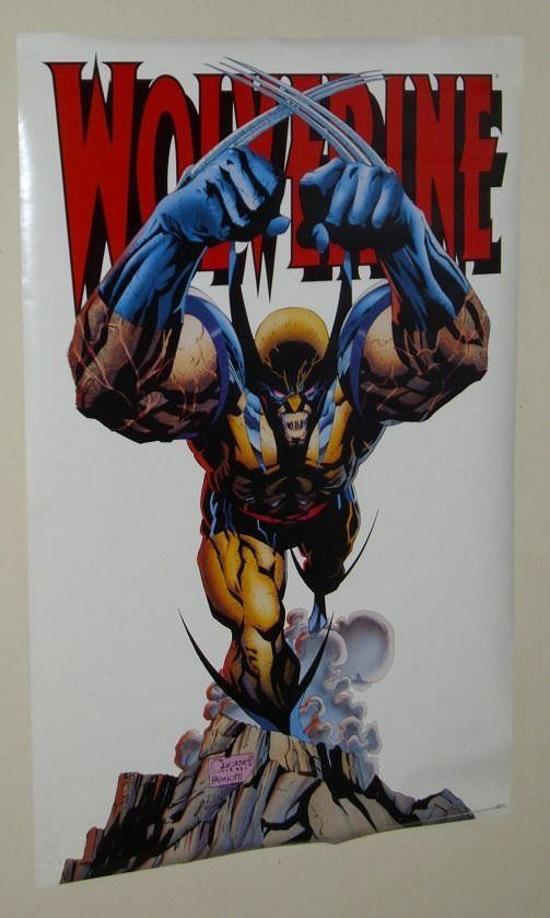 1993 rare vintage original 34 x 22 Marvel Comics X-Men Wolverine poster: 1990's. 1000's more Marvel and DC Comics superhero posters and color guide art/colorist artwork pages available for sale at SUPERVATOR.COM