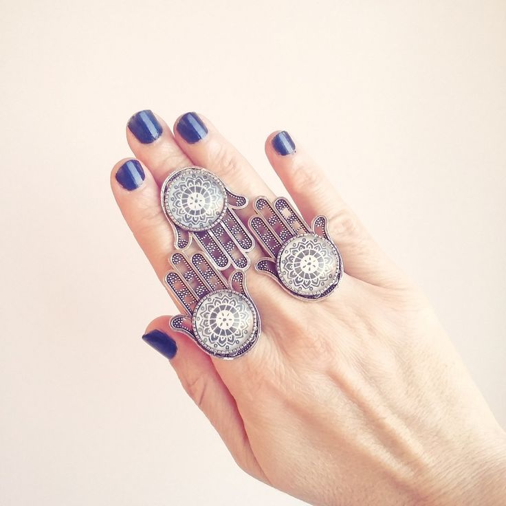 Μεγάλο δαχτυλίδι Hamsa Hand