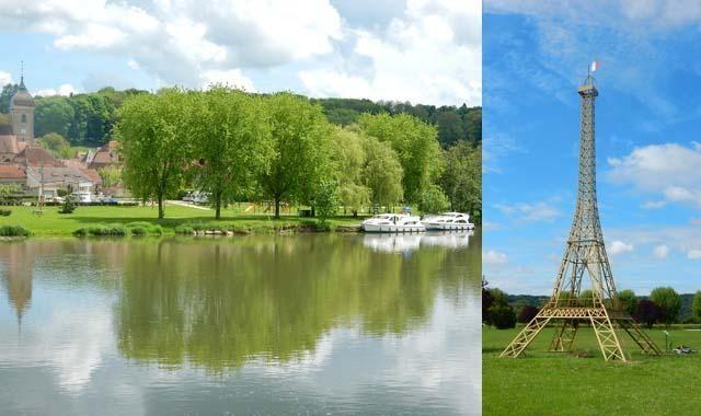 Anleger und Eiffelturm in Soing im Burgund   Bootsurlaub in der Franche-Comté