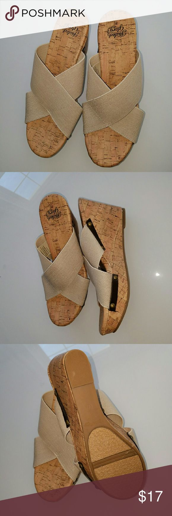 New Faded Glory Tan Wedge Cork Sandals These are new with no box. Great wear with anything sandal. Elastic strap for a comfortable fit.  Brand: Faded Glory Color: Tan Size: 7 1/2 Faded Glory Shoes Sandals