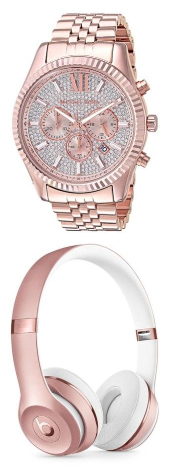 """Rosegold"" by pinkribbonsray on Polyvore featuring men's fashion, men's jewelry, men's watches, mens analog watches, mens blue dial watches, mens diamond bezel watches, michael kors mens watches, mens rose gold watches, men's accessories and men's tech accessories"