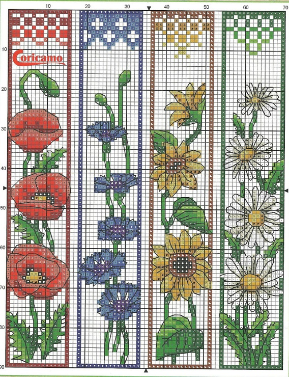 Tons of bookmark patterns.  original site in Russian.  I think the floss numbers are there somewhere, but need to do a google translation of the page to find them.