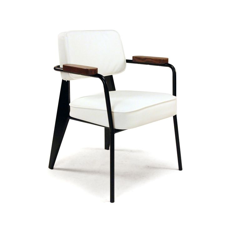 Fauteuil Direction Arm Chair - White - Jean Prouve Dining Chair - Mid Century Modern  http://www.franceandson.com/mid-century-modern-fauteuil-direction-arm-chair-white.html