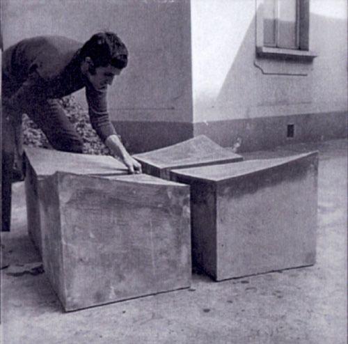 Alighiero Boetti, working at a now lost Arte Povera work. Photo circa1966