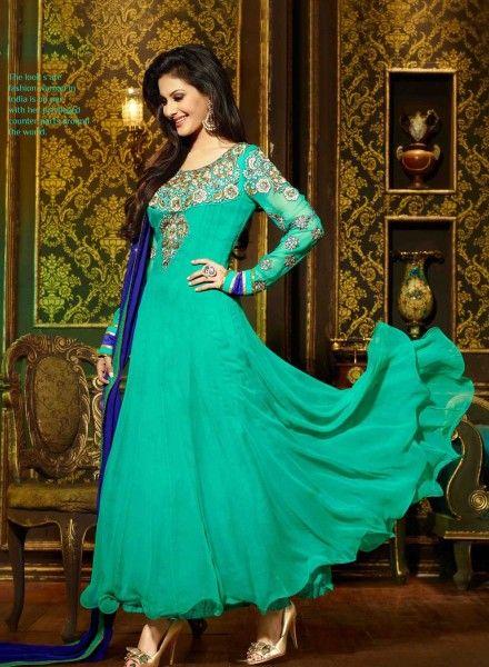 Sea Green wedding wear anarkali churidar kamiz in georgette I15034