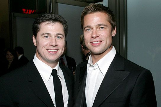 """Doug & Brad Pitt  Brad Pitt's younger brother (by three years), Doug, is a businessman and philanthropist who lives in Springfield, Missouri, with his wife and three kids. He made headlines in 2012 when an ad he made for Virgin Mobile Australia went viral. In the ad, he refers to himself as the """"second most-famous Pitt,"""" which might bother Brad and Doug's sister, Julie, a little bit."""