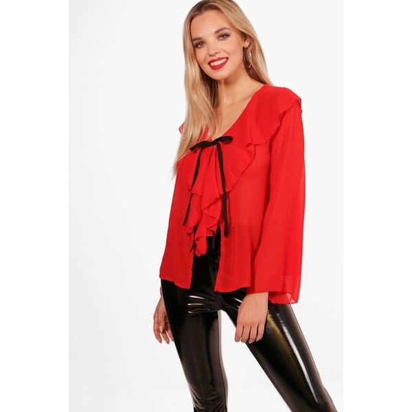 Boohoo Roxie Chiffon Ruffle Tie Front Blouse ($10) ❤ liked on Polyvore featuring tops, blouses, crop top, chiffon blouses, red crop top, off the shoulder crop top and red chiffon blouse