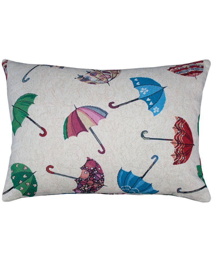 Cojín con estampado de paraguas de colores sobre fondo beige. Ideal para decorar cualquier estancia de la casa o para regalar.Cómpralo ahora y recíbelo en 48 h.