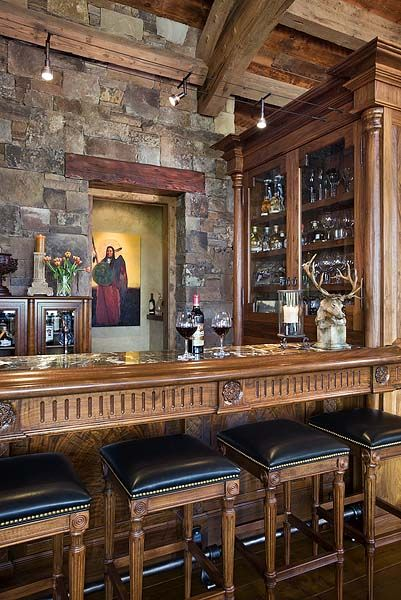 Stone Wall Wood Countertop Glass Cabinets Wet Bar Wood
