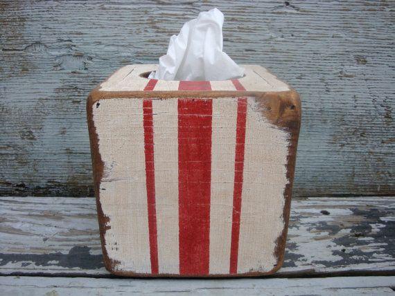 FREE SHIP Grain Flour Sack French Stripe Rustic Distressed Wood Tissue Box Cover Holder Farmhouse Decor by TheUnpolishedBarn