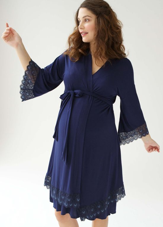 Queen Bee Tallulah Lace Trim Maternity Robe in Navy Blue by Belabumbum