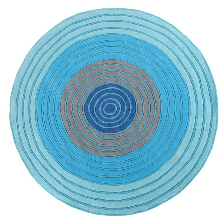 Blue Tones - Circle Rug 150 x 150 Part of our new range of exciting, exclusively designed children's rugs. 20 ml pile height, acrylic pile, thick and plush these hand tufted and carved rugs are durable, washable and gorgeous!