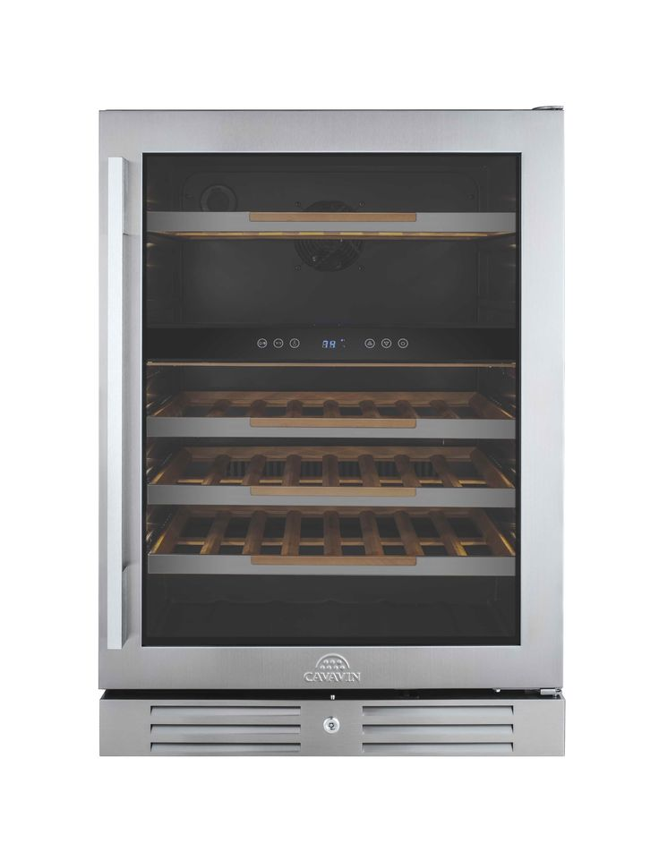 "CAVAVIN | 47 Bottle Wine Cooler Built-in or freestanding installation •	Single zone ranging between 5-18°C (40-65°F) •	Transition LED lighting (as door opens) with on/off switch •	All wood 100% extension shelves with stainless steel trims • 2 handle choices included (PRO & DESIGN) •	4"" stainless steel kickplate mounted with security lock"