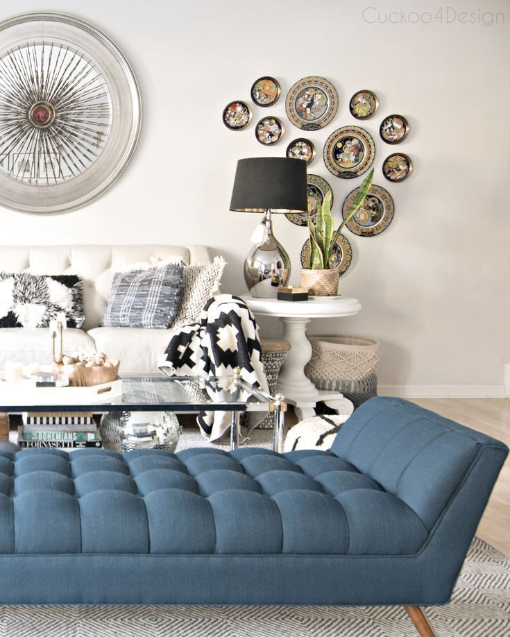 Mid Century Modern Blue Button Tufted Chaise In Eclectic European Living Room Smalllivingroomlayout