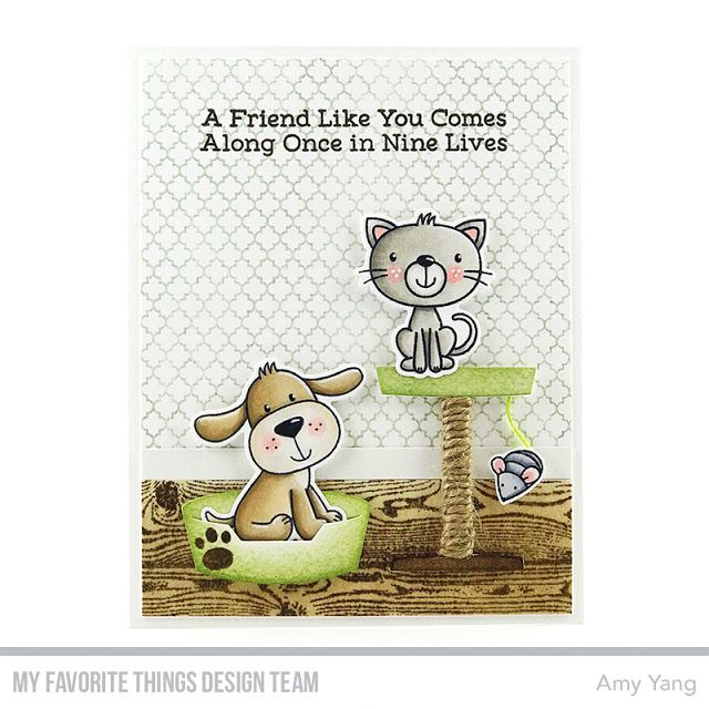 Stamps: Furever Friends Card Kit, I Knead You, Wood Plank Background, Moroccan Lattice Background Die-namics: Furever Friends Card Kit, Pet Perches  Amy Yang #mftstamps