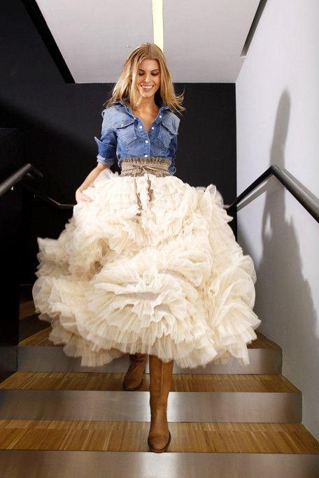 jean top over a wedding dress + belt for trash the dress