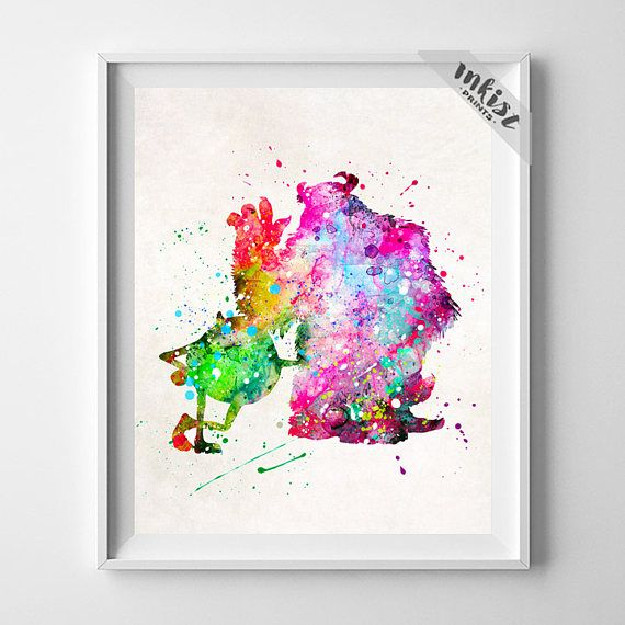 Monsters Inc, Monsters Inc Art, Monsters Print, Mike and Sulley, Watercolor Art, Disney Poster, Pixar Poster, Bedroom Decor, Gift For Him, Wall Art. PRICES FROM $9.95. CLICK PHOTO FOR DETAILS. #inkistprints #watercolor #watercolour #giftforher #homedecor #wallart #walldecor #poster #print #christmas #christmasgift #weddinggift #nurserydecor #mothersdaygift #fathersdaygift #babygift #valentinesdaygift #painting #dorm #decor #livingroom #bedroom