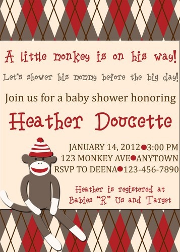 DIY PRINTABLE Sock Monkey Baby Shower Birthday Invitation
