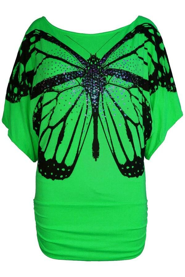 Ladies Womens Side Off Shoulder Ruched Sequin Batwing Butterfly Bardot Print Top