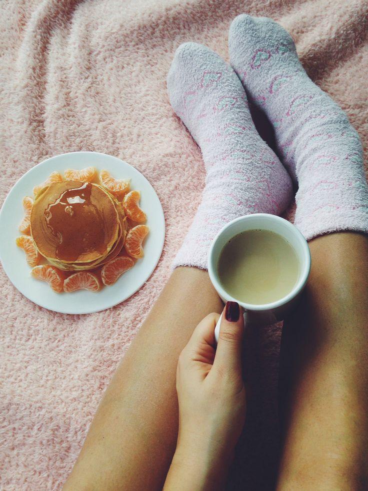 #coffee #morning #pancake #pink