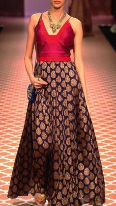 Anita Dongre perfectly combines Indian fabrics and a more western silhouette to create this silk brocade print dress. we love.