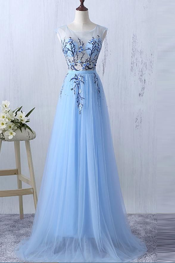 07968ea9fd New Arrival Light Blue Flower Appliques Real Photo See Through Prom Dresses  Formal Dress LD1115