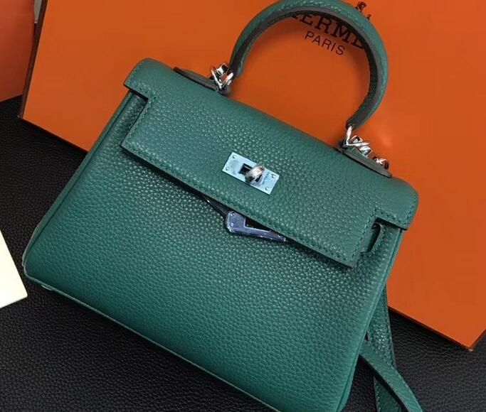 8cf08c1164 2018 Hermes Clemence Leather Kelly 20cm Mini Bag Emerald green ...