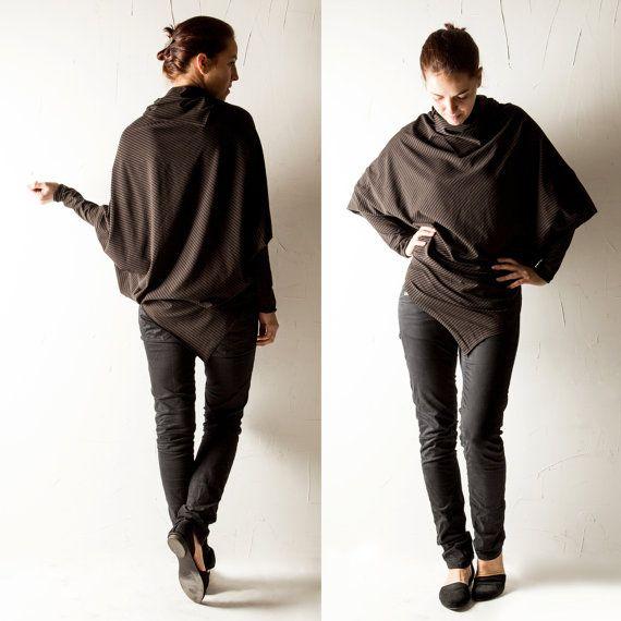 Batwing top, Dolman top, Women t-shirt, Oversize top, Striped top, Brown shirt, Long sleeve top, Cowl top, Blouse, Plus size, Maternity top
