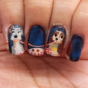 A romantic meal for two: | 26 Incredibly Creative Works Of Nail Art The Lady and The Tramp