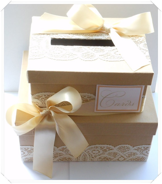 Simple Vintage Style Lace Wedding Card Box Double by ModernShabby
