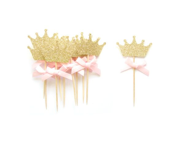 12 Pink Bow & Gold Glitter Crown Cupcake Toppers - Crown Cupcake Toppers, Birthday Cupcake Topper, First Birthday Cupcake Toppers
