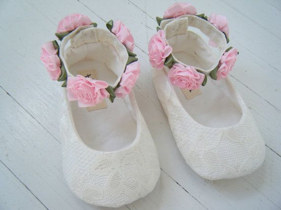 Ivory Lace Pink Ankle Wreath Shoe Flower Girl Baby by BobkaBaby, $48.00
