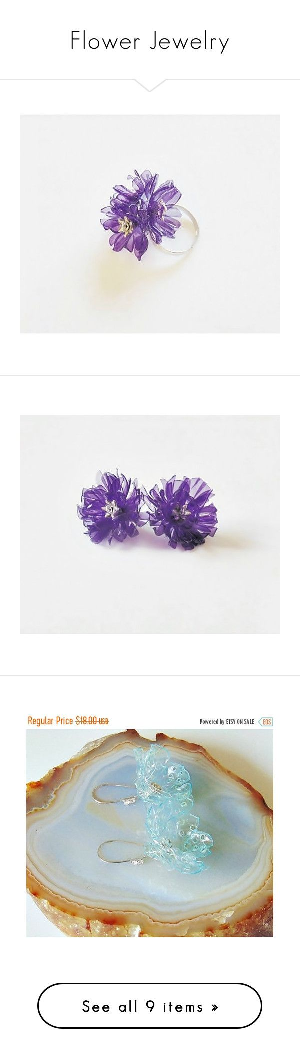 Flower Jewelry by styledonna on Polyvore featuring women's fashion, jewelry, earrings, flower jewelry, flower jewellery, long earrings, flower earrings, blossom jewelry, rings and green ring