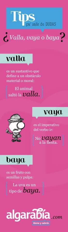 valla vs vaya vs baya