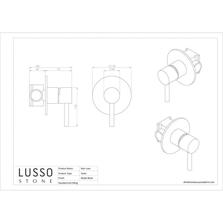 Lusso Luxe Series Wall Mounted Bath Mixer Tap Valve & Spout Matte Black