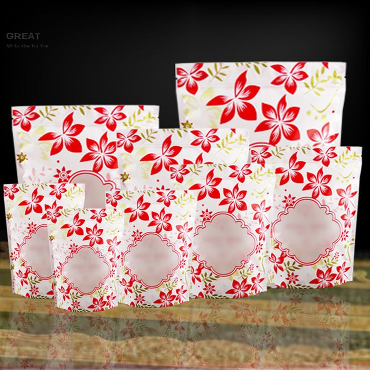"Visible Matte Clear Mylar Pouch Stand Up Bags Package Open Window Pouch W/Floral Print Storage Zip Lock Bags 15x22cm (6x8.5"")  #Affiliate"