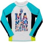 MAMBO Rash Vest Rashie Long Sleeve White Blue UPF50+ Surfer Size 4 5 6 7
