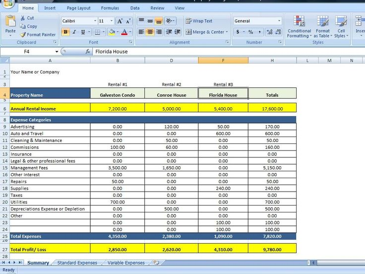property management expenses spreadsheet