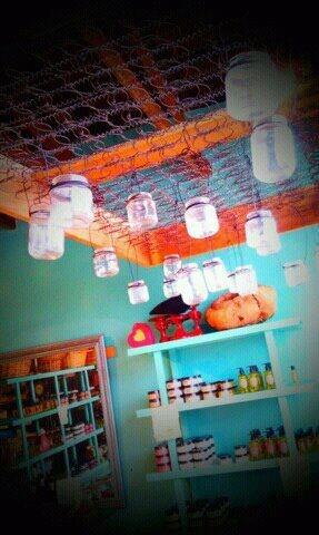 Beautiful chandelier - box spring and mason jar lights